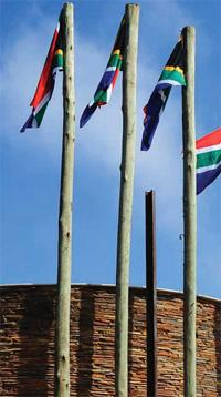 South African flags at Freedom Park